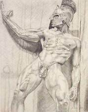 "9"" x 12"" drawing print nude male gladiator Roman mythology gay art"