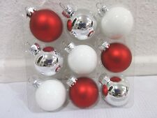 """Christmas Peppermint MINI Glass Ball Red White Silver Ornaments 1.5"""" Set of 9"""