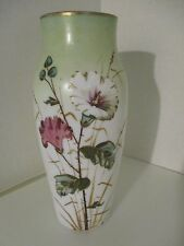 ANTIQUE HAND PAINTED BRISTOL MILK GLASS VASE FLORAL