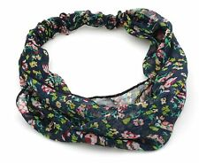 Zest Ditsy Floral Print Chiffon Fabric Headband Hair Accessory Navy Blue