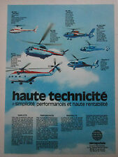 5/77 PUB AEROSPATIALE HELICOPTERE ECUREUIL FRELON DAUPHIN GAZELLE PUMA FRENCH AD