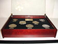 Jack Daniel's Seven Commemorative Medals & Gold Medal Shadow Box New