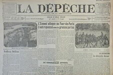 WW1 JOURNAL LA DEPECHE MAI 1916 BATAILLE DE VERDUN ATTAQUE AU FOUR DE PARIS