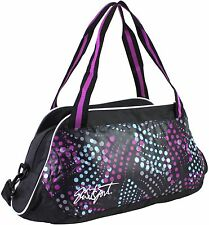 Womens Fashionable Gym Duffel Bag w Two Large Zippered Pockets Black Multi Color