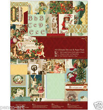 Papermania A4 Victorian Christmas greetings paper & die cut 48 sheets Pk 160gsm