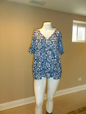 Basic Editions women's plus 2Fer Short Sleeves Navy Blue Floral Pattern 3X NEW