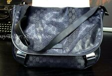 "GUCCI 16"" GG Authentic Italy Dk Blue Messenger Leather Shoulder Strap Bag Mens"