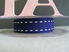 """5/8"""" (15mm) Stitched Grosgrain Ribbon - By the Metre - #4504 Navy & White"""