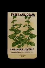 1930's ROUDABUSH'S SEED STORE SWEET MARJORAM SEED PACKET10 CENTS / WILMINGTON NC