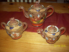 Beautiful 3 Pc. Vintage Made in Japan Satsuma Dragon Tea Set Hand Painted
