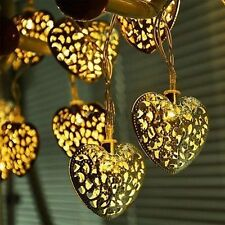 20x Metal Moroccan Heart LED Battery String Lights Warm White Garden Lighting