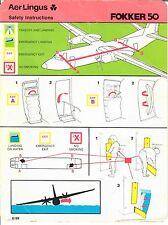 Aer Lingus Fokker 50 safety card - 6/89