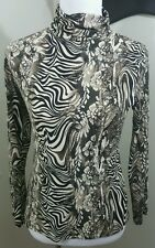 Papillon Blanc Women's Size Medium M Animal Print Turtleneck Blouse Stretch C2