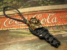 GOLD LION ON BLACK PARACORD KNIFE LANYARD & BEAD OHIO USA MADE