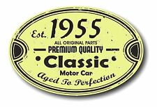 Retro Distressed Aged To Perfection Classic Oval 1955 Vintage Car sticker decal