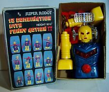 VINTAGE SUPER ROBOT BATTERY OPERATED 12 COMBINATION PLASTIC ROBOT W/BOX & WORKS