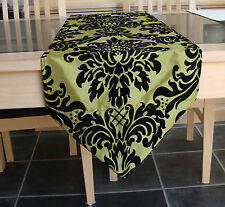 LIME GREEN TAFFETA WITH BLACK PRINTED FLOCK TABLE RUNNER