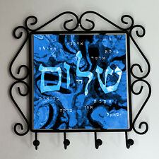 Ornate Iron frame with a home blessing art printed ceramic tile and 4 key hooks.