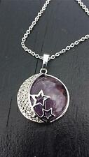 natural amethyst gemstone moon and star pendant and chain