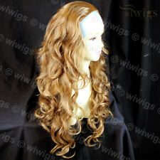Golden Blonde mix 3/4 Fall Hairpiece Long Curly Layered Lady Half Wig WIWIGS UK