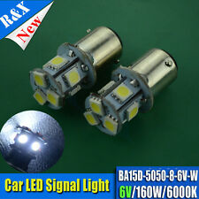 2 x  6V 160LM 8 SMD 5050 LED BULBS GLB206 BA15D 5W POSITIVE EARTH NEGATIVE EARTH