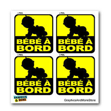 French Bebe A Bord - Baby On Board - In Car - Set of 4 - Window Bumper Stickers