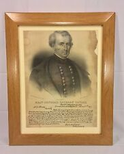 Antique Stone Lithograph of Major General Zachary Taylor w/ Reproduction 1847 Le