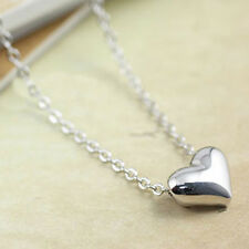 Silver Plated Mini Valentine Day Love Heart Princess Necklace Choker Chain 45cm