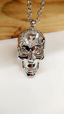 Fashion Cool Silver Plated Crystal Big Skull Head Long Sweater  Necklace Pendant