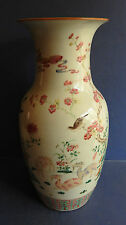 VERY LARGE CHINESE PORCELAIN FAMILLE ROSE VASE - GOATS / PEACHES - 19TH CENTURY