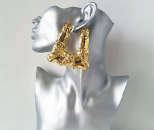 BIG & fab HUGE GOLD tone doorknocker style over sized  creole hoop earrings,