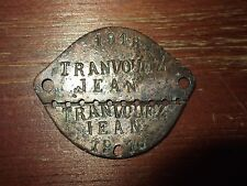 FRENCH ARMY 1940 WWII ID-TAG / DOG TAG - JEAN TRANVOUEZ 1918 - RARE!