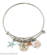 Sea Charm Pearl Glass Bead Bangle Cuff Bracelet Alex Silver Starfish Nautical