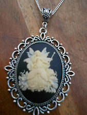 CREAM ON BLACK LARGE 30 X 40 MM GOOD FAIRY CAMEO NECKLACE