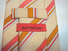 Battistoni mens SILK tie necktie MUTED YELLOW Pink Multicolor Striped EXCELLENT