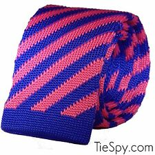 Luxury Mens Pink & Blue Diagonal Striped Woven Tie Necktie Solid Knitted Skinny
