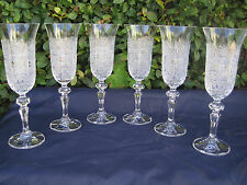 VINTAGE BOHEMIA QUEEN LACE HAND CUT 24% LEAD CRYSTAL FLUTE 5.1 OZ 6 PC