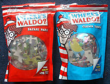 2 jigsaw puzzle Where's Waldo 100 pc Clown Town & Safari Park metallic foil pcs
