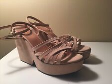 ROBERT CLERGERIE DOUCIA WOMENS TAN NUBUCK  LEATHER WEDGES SANDALS SHOES 9.5 NEW