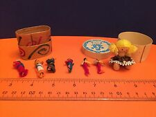 VINTAGE MINI LOT Two treen boxes MINIATURE dolls one with doll in Xmas box
