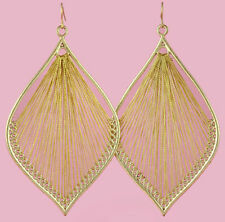 T1329 fashion handcraft charm leaf style cute gold thread dangle earrings new