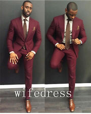 Custom Made Burgundy Men Suit Groom Wedding Best Man Formal Tuxedos Jacket Pants