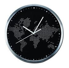 """Quartz Horloge Murale Motif """"World Map"""" Diamètre 30 cm Caisson extérieur"""
