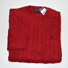 New Men's Polo Ralph Lauren Crewneck Cableknit Pullover Sweater Red XL, X-Large
