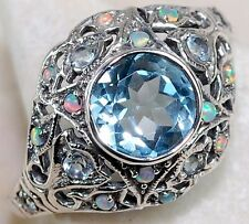 1CT Aquamarine 925 Solid Sterling Silver Edwardian Style Ring Sz 7, F2-8