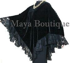 Black Victorian Style Velvet & Lace Poncho Cape Wrap Top Maya Matazaro