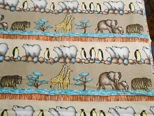 Fabric 2 Yards 8 Inches Polar Bears Penguins Tigers Elephants Stripe Quilting