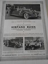 PUBLICITE 1937 Hispano Suiza