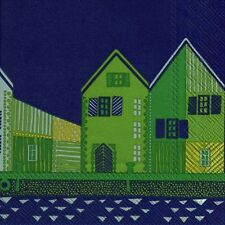 VANHAKAUPUNKI blue houses  Marimekko paper lunch napkins new 20 in pack