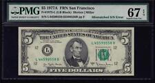Fr 1975-L 1977A $5 Mismatched Serial Number Error Note Pmg Superb Gem 67 Epq